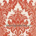 Textiele damask donker oranje Cassata rasch