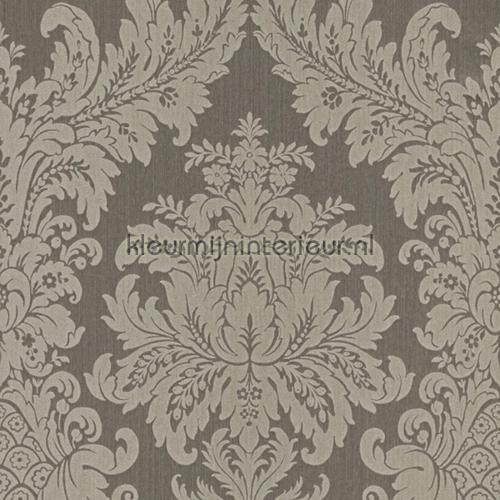 Textiele damask vergrijsd bruin behang 077291 Cassata Rasch