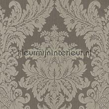 Textiele damask vergrijsd bruin behang Rasch Cassata 077291