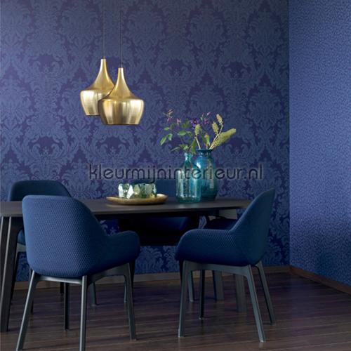 Textiele damask kobaltblauw behang 077338 Cassata Rasch
