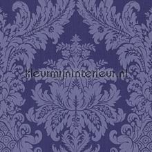 Textiele damask kobaltblauw behang Rasch Cassata 077338