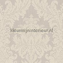 Textiele damask licht grijsbeige papier peint Rasch Cassata 077345