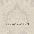 Textiele damask licht grijsbeige  rasch