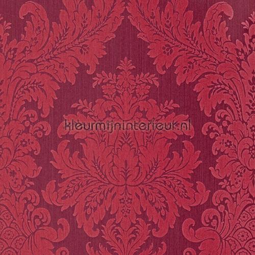 Textiele damask donkerrood behang 077352 Cassata Rasch