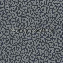 Panterprint op textiel donkerblauw papier peint Rasch Cassata 077376
