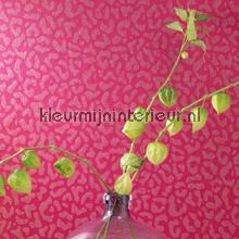 Panterprint op textiel fuchsia roze behang Rasch Cassata 077383