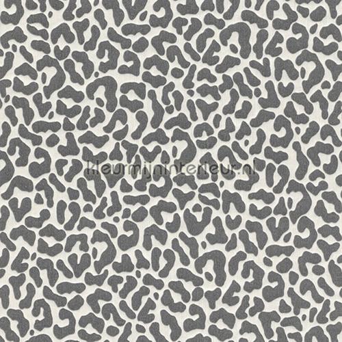 Panterprint op textiel antraciet-wit behang 077390 Cassata Rasch