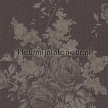 Grote rozen op textiel warm antraciet behang Rasch Cassata 077529