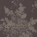 Grote rozen op textiel warm antraciet Cassata rasch