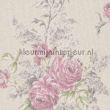Grote rozen op textiel behang Rasch Cassata 077536