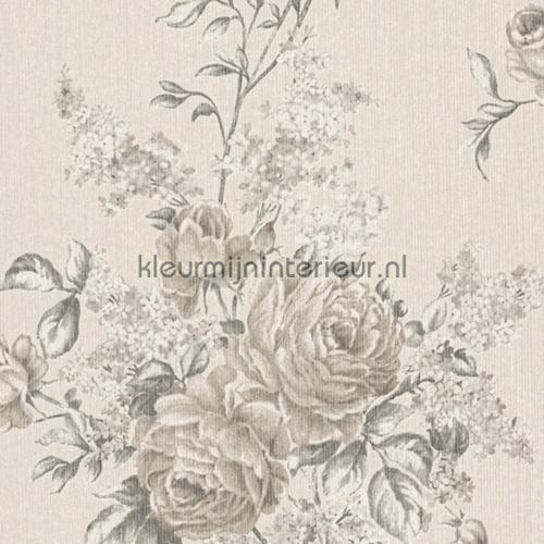 Grote rozen op textiel licht behang 077543 Cassata Rasch