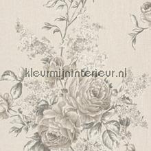 Grote rozen op textiel licht behang Rasch Cassata 077543