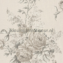 Grote rozen op textiel licht papier peint Rasch Cassata 077543