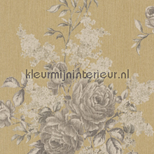 Grote rozen op textiel zandgeel behang Rasch Cassata 077550