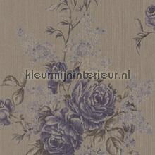 Grote rozen op textiel vergrijsd bruin papier peint Rasch Cassata 077567
