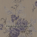 Grote rozen op textiel vergrijsd bruin Rasch