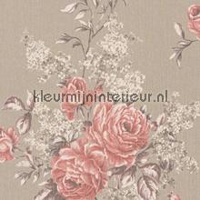 Grote rozen op textiel behang Rasch Cassata 077574