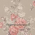 Grote rozen op textiel Cassata rasch