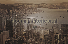 Hong Kong - vintage brown fotomurales Dutch Wallcoverings City Love CL91C