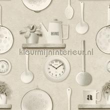 Muur met keukengerei behang Rasch Deco Relief 307115