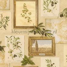 Italiaanse olijven behang Rasch Deco Relief 307214