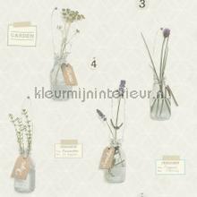 Gelabelde bloempotjes behang Rasch Deco Relief 518313