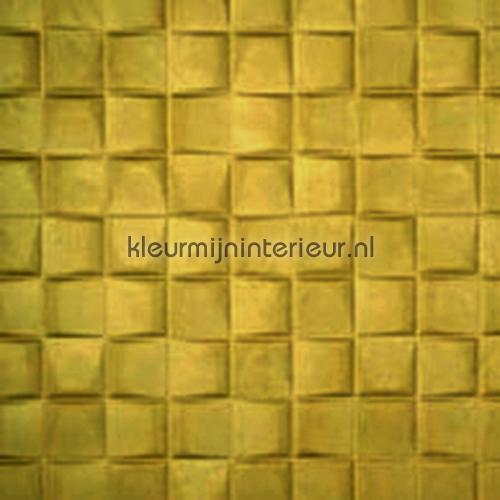Select 3D blok suedelook mosterdgeel behang 30521 Enigma Arte