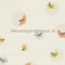 Vogels in cirkels gordijnstof beige curtains AS Creation ready made