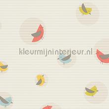 Vogels in cirkels met gelineerde achterg tapeten AS Creation Esprit Kids 4 302982
