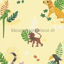 Esprit jungle dieren origami geel behang AS Creation behang