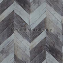 Grote visgraat hout petrol grijs papel de parede BN Wallcoverings madeira
