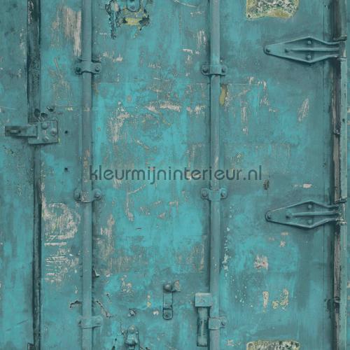 Stalen deuren turquoise behang EW3201 aanbieding behang Dutch Wallcoverings