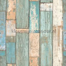 Turquoise sloophout behang Dutch Wallcoverings hout