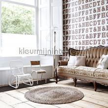 Houten licht letters lichtbeige papier peint Esta home Fab 142-138-850