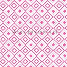 Diagonaal ruitje roze wit papier peint Esta home Fab 142-138-862