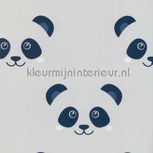 Panda faces grijs blauw tapet Noordwand Fabulous World 67100-2