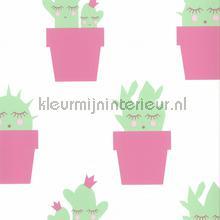 Cactus roze mint tapet Noordwand Fabulous World 67102-3
