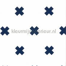 Kruisjes wit blauw behang Noordwand Baby Peuter