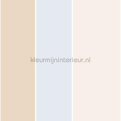 Baby Blauw Behang.3 Kleur Streep Beige Blauw 303259 Behang Favola Rasch