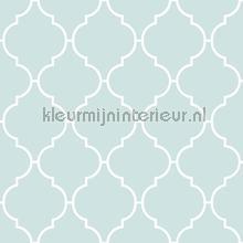 Mintblauw trellis patroon behang Rasch behang