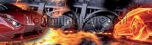 Car in flames rand behang Kleurmijninterieur Kinderranden