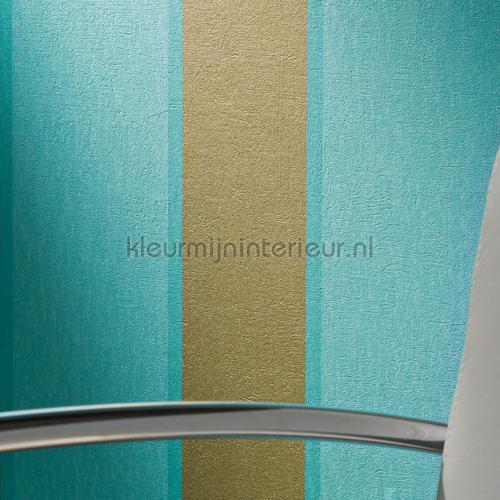 Royal fleece streep goud turquoise tapeten 96186-8 sonderangebote tapeten AS Creation