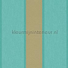 Royal fleece streep goud turquoise tapet AS Creation salg