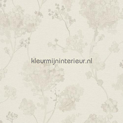 Planten aquarel beige behang 449204 aanbieding behang Rasch