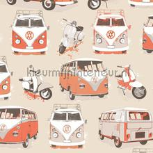 Volkwagens in zalmroze papier peint Dutch Wallcoverings voitures transport