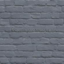 Geschilderd bakstenen blauwgrijs behang Dutch Wallcoverings Stenen