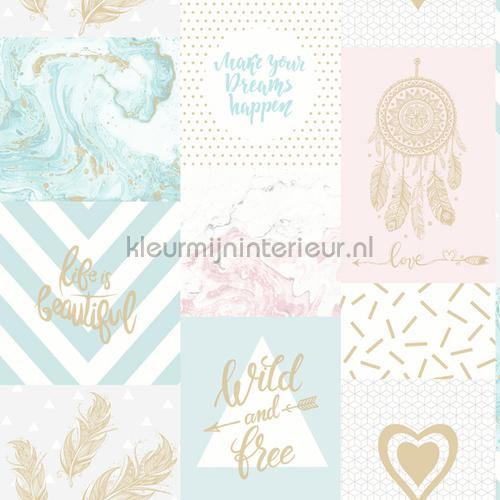 wild and Free Pink and Blue papel de parede 90210 raparigas Dutch First Class