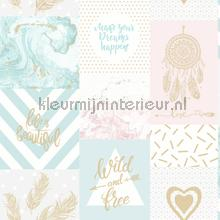 wild and Free Pink and Blue papel de parede Dutch First Class Glasshouse 90210