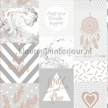 Wild and Free Grey Rosegold papel de parede Dutch First Class Glasshouse 90211