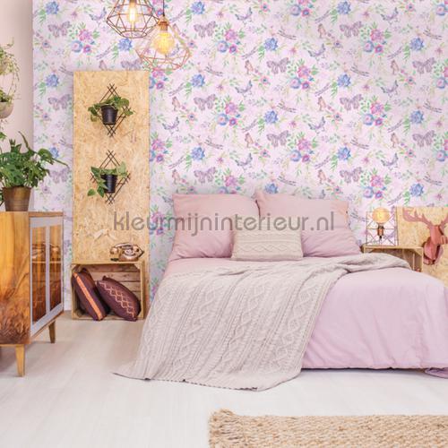 botanical Butterfly Pink papel de parede 90262 raparigas Dutch First Class